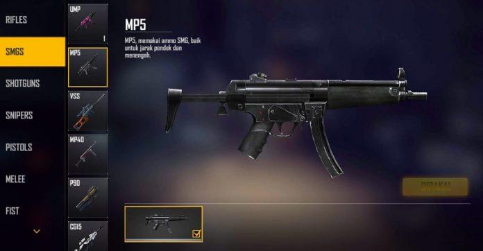 mp5 senjata baru free fire yang melegenda di dunia