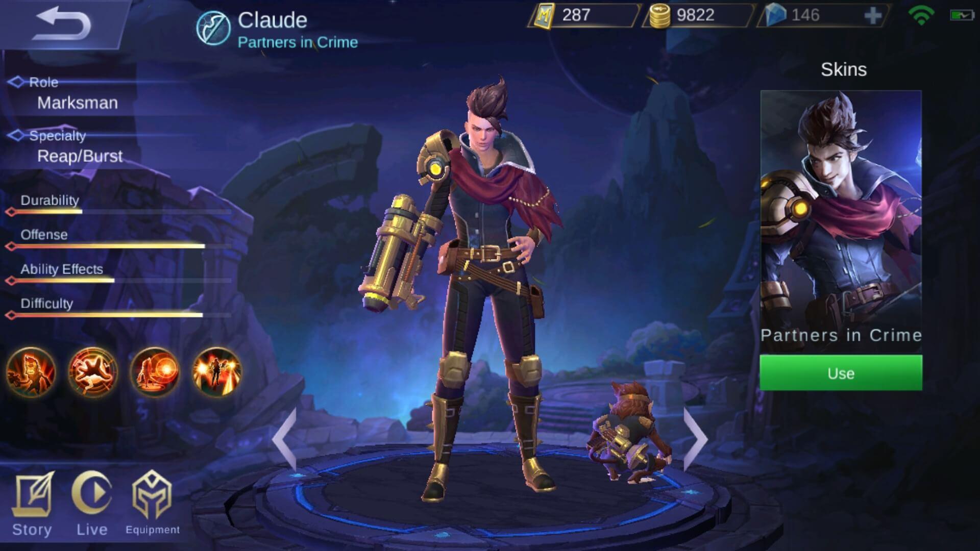 claude mobile legend skills