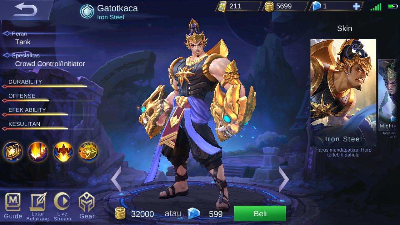 gatotkaca mobile legend skin