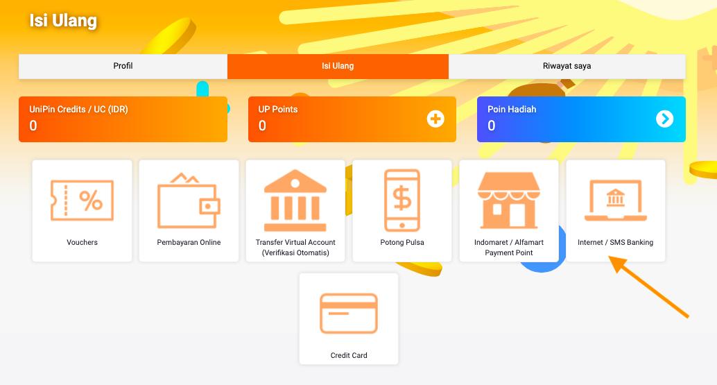pilih internet sms banking