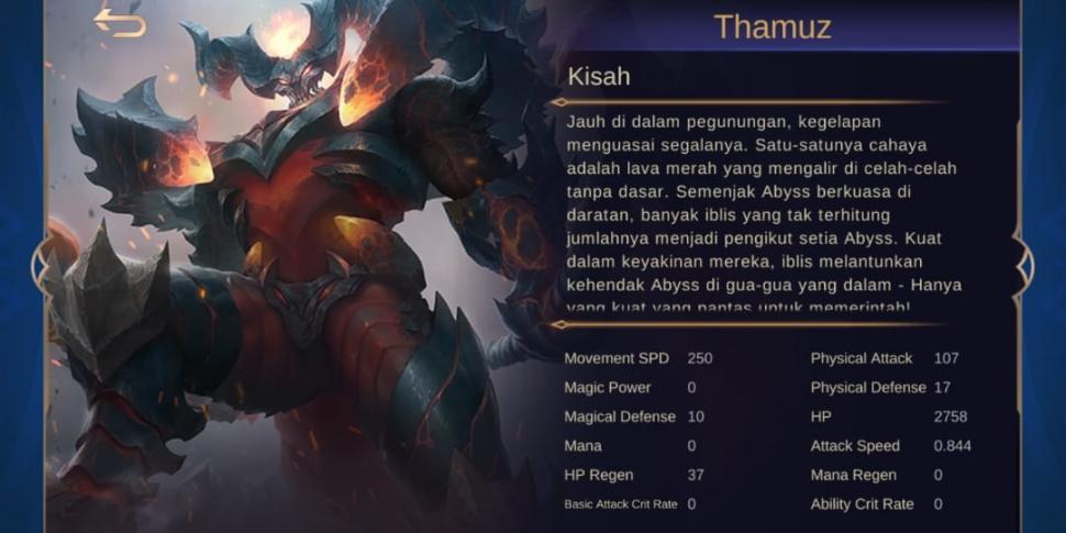 thamuz mobile legends story