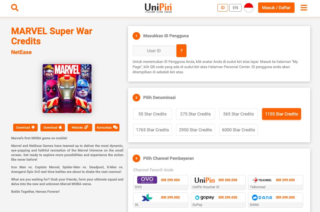 top up marvel super war