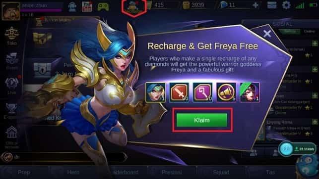 top up mobile legend via google play