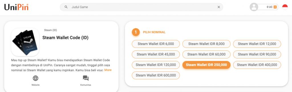 beli Steam di UniPin