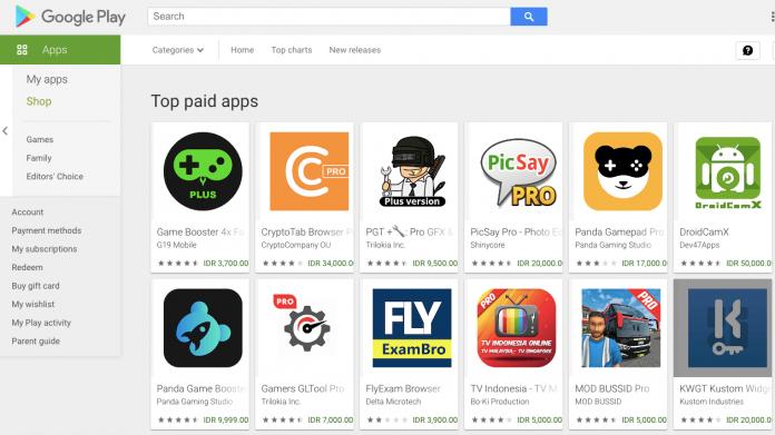 cara beli aplikasi di play store