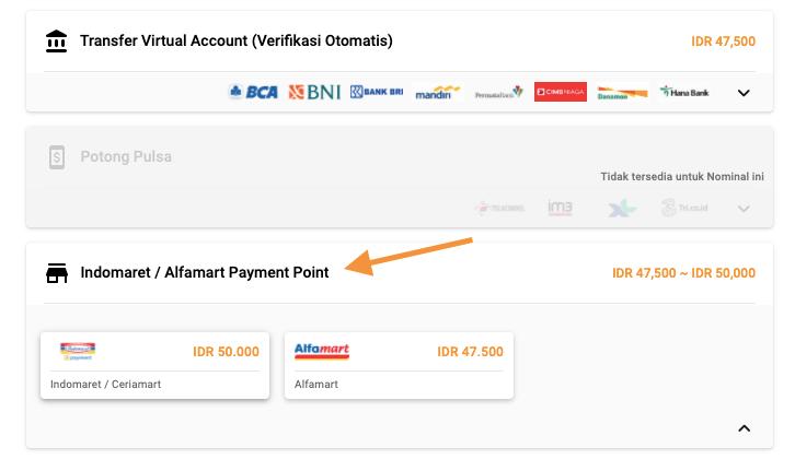 metode pembayaran Indomaret-Alfamart