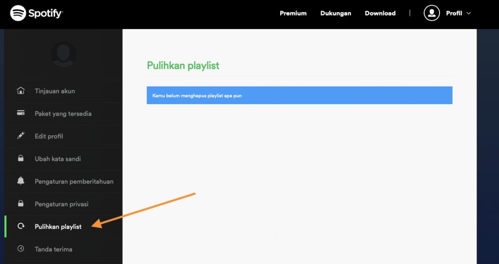 pulihkan playlist