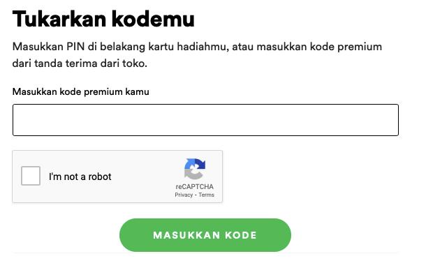 redeem kode spotify