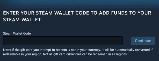 steam wallet code