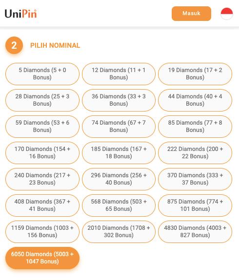 daftar harga diamond ml termurah