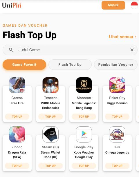 flash top up UniPin