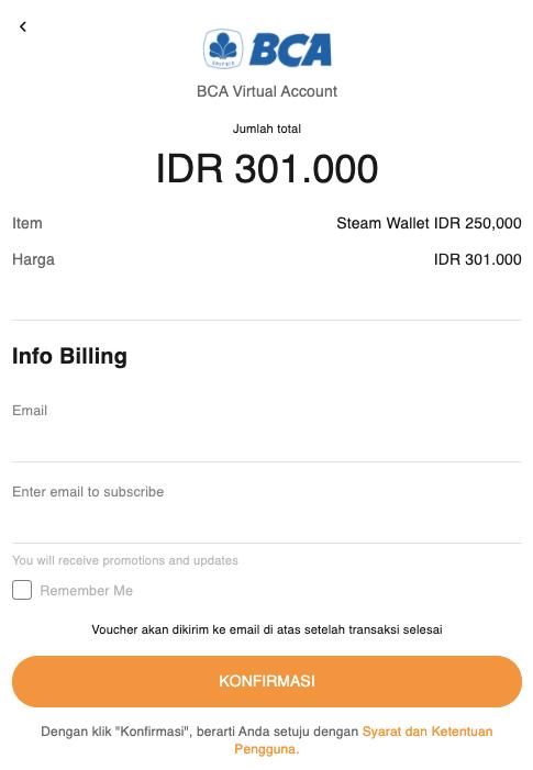 konfirmasi pembelian Steam Wallet