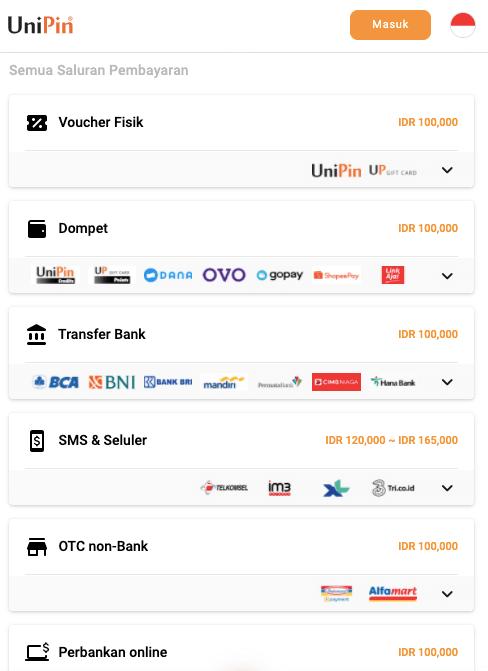 metode pembayaran UniPin cash PB