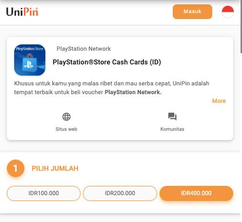 pilih nominal PSN Card