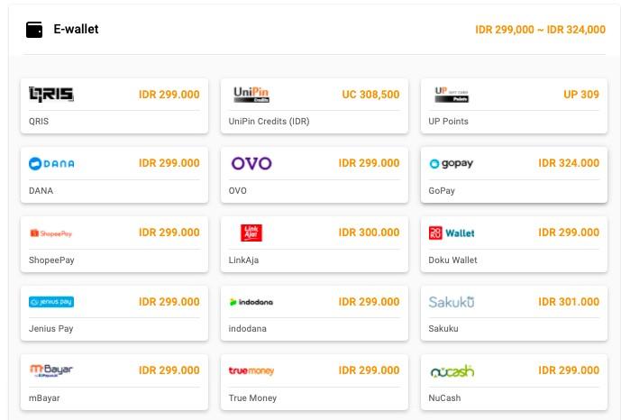 pembayaran memakai e-wallet lainnya