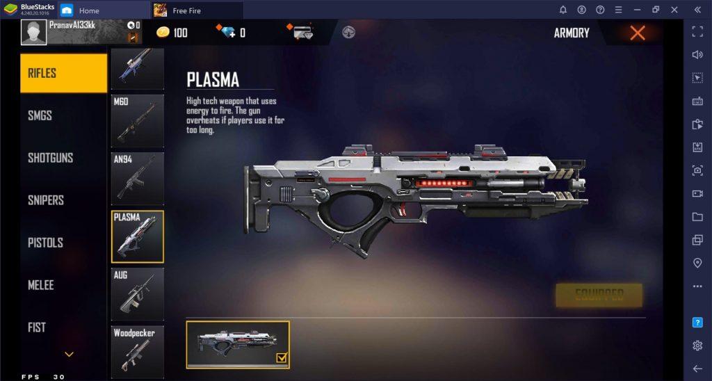 senjata plasma gun free fire