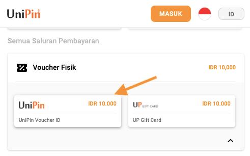 bayar FF pakai voucher UniPin