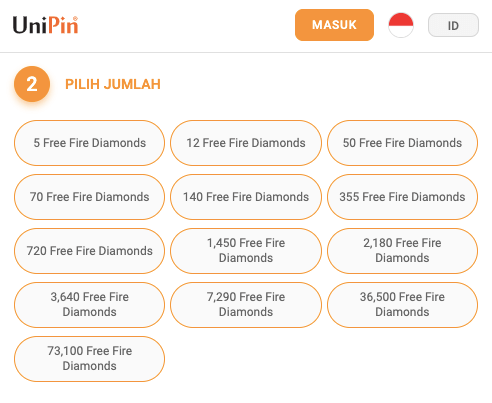 pilih nominal diamond