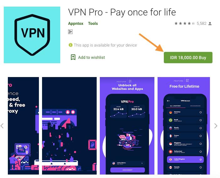 tombol pembelian vpn pro