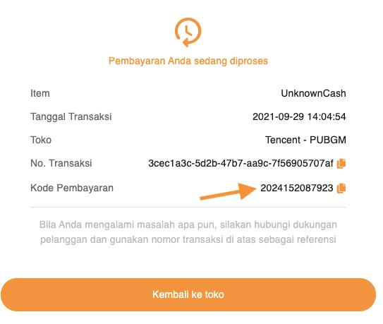 kode pembayaran PUBG