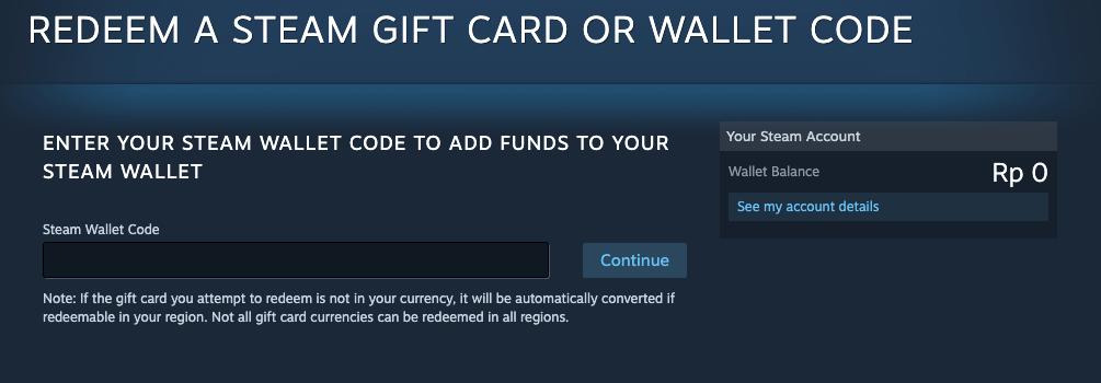 redeem steam Wallet